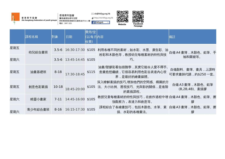 畫班課程資料2020-1